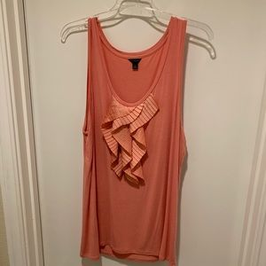 Ann Taylor Peach Pink Tank with Front Ruffle